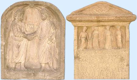 Relief mit zwei Männern und Weihestein